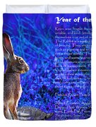 Year of the Rabbit 2011 . blue Duvet Cover by Wingsdomain Art and Photography
