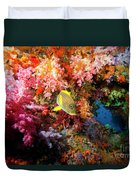 Yellow Banded Sweetlip Fish And Coral Duvet Cover by Beverly Factor