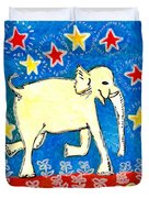 Yellow Elephant Facing Right Duvet Cover by Sushila Burgess