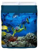 Yellow Scuba Diver Duvet Cover by Ed Robinson - Printscapes