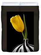 Yellow Tulip In Striped Vase Duvet Cover by Garry Gay