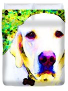 You Are My World - Yellow Lab Art Duvet Cover by Sharon Cummings