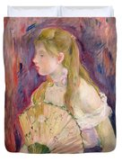 Young Girl With A Fan Duvet Cover by Berthe Morisot