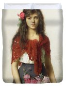 Young girl with blossoms Duvet Cover by Alexei Alexevich Harlamoff