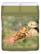 Young Girls On The River Bank Duvet Cover by Pierre Auguste Renoir
