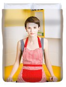 Young House Wife On Yellow Kitchen Background Duvet Cover by Jorgo Photography - Wall Art Gallery