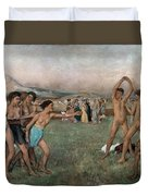 Young Spartans Exercising Duvet Cover by Edgar Degas