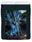 Young Woman Climbing A Tree Duvet Cover by Jill Battaglia