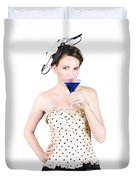 Young Woman Drinking Alcoholic Beverage Duvet Cover by Jorgo Photography - Wall Art Gallery