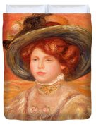 Young Woman In A Blue Hat Duvet Cover by Pierre Auguste Renoir