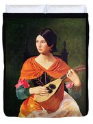 Young Woman With A Mandolin Duvet Cover by Vekoslav Karas
