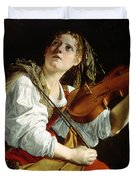Young Woman with a Violin Duvet Cover by Orazio Gentileschi