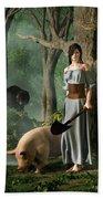Huon The Truffle Hog Bath Towel by Daniel Eskridge