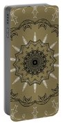 Coffee Flowers 3 Olive Ornate Medallion Portable Battery Charger by Angelina Vick