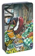 Caribbean Market Day Portable Battery Charger by Karin  Dawn Kelshall- Best