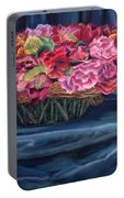 Fabric And Flowers Portable Battery Charger by Sharon E Allen