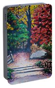 Fall In Quebec Canada Portable Battery Charger by Karin  Dawn Kelshall- Best