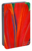 Red Petals Portable Battery Charger by Lucy Arnold