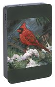 Winter Cardinal Portable Battery Charger by Nadine Rippelmeyer