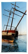 Derelict Faux Tall Ship Beach Towel by Trever Miller