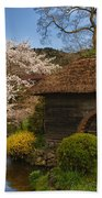 Old Cherry Blossom Water Mill Beach Towel by Sebastian Musial