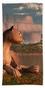 Cougar At Evening Beach Towel by Daniel Eskridge