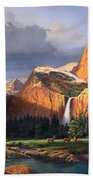 Deer Meadow Mountains Western Stream Deer Waterfall Landscape Oil Painting Stormy Sky Snow Scene Beach Towel by Walt Curlee