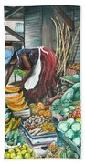 Caribbean Market Day Beach Towel by Karin  Dawn Kelshall- Best