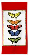 Rainbow Butterflies Beach Towel by Lucy Arnold