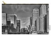 Chicago River In Black And White Carry-all Pouch by Sebastian Musial