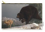 Grizzly Bear Chasing Rabbit Carry-all Pouch by Daniel Eskridge
