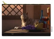 Still Life With Wine Fruit And Cat  Carry-all Pouch by Daniel Eskridge