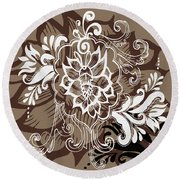 Coffee Flowers 10 Round Beach Towel by Angelina Vick