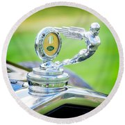 1931 Ford Model A Deluxe Fordor Hood Ornament Round Beach Towel by Sebastian Musial