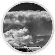 Boiling Sky Round Beach Towel by Trever Miller