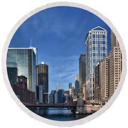 Chicago River Round Beach Towel by Sebastian Musial