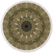 Coffee Flowers 3 Olive Ornate Medallion Round Beach Towel by Angelina Vick