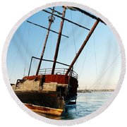 Derelict Faux Tall Ship Round Beach Towel by Trever Miller