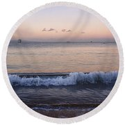 First Light On Ma'alaea Bay Round Beach Towel by Trever Miller