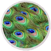 Peacock Feather Cascade Round Beach Towel by Angelina Vick
