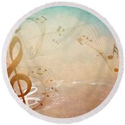 Please Dont Stop The Music Round Beach Towel by Angelina Vick