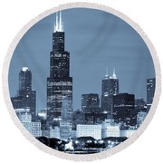 Sears Tower In Blue Round Beach Towel by Sebastian Musial