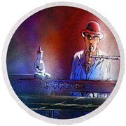 The Pianist 02 Round Beach Towel by Miki De Goodaboom