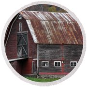 Vermont Barn Art Round Beach Towel by Juergen Roth