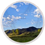 When Clouds Meet Mountains Round Beach Towel by Angelina Vick