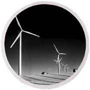 Wind Farm Round Beach Towel by Trever Miller