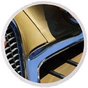 1957 Studebaker Golden Hawk Hardtop Grille Emblem Round Beach Towel by Jill Reger