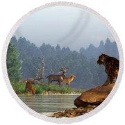 A Saber-tooth Hunting Deer Round Beach Towel by Daniel Eskridge
