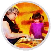 Baking Cookies With Grandma Round Beach Towel by Nikki Marie Smith