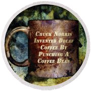 Gritty Chuck Norris 2 Round Beach Towel by Angelina Vick